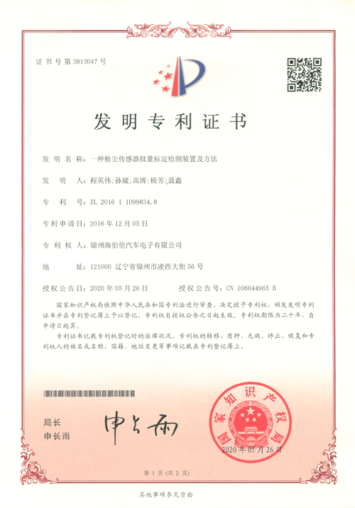 Good News! Our company has obtained another patent certificate for invention.